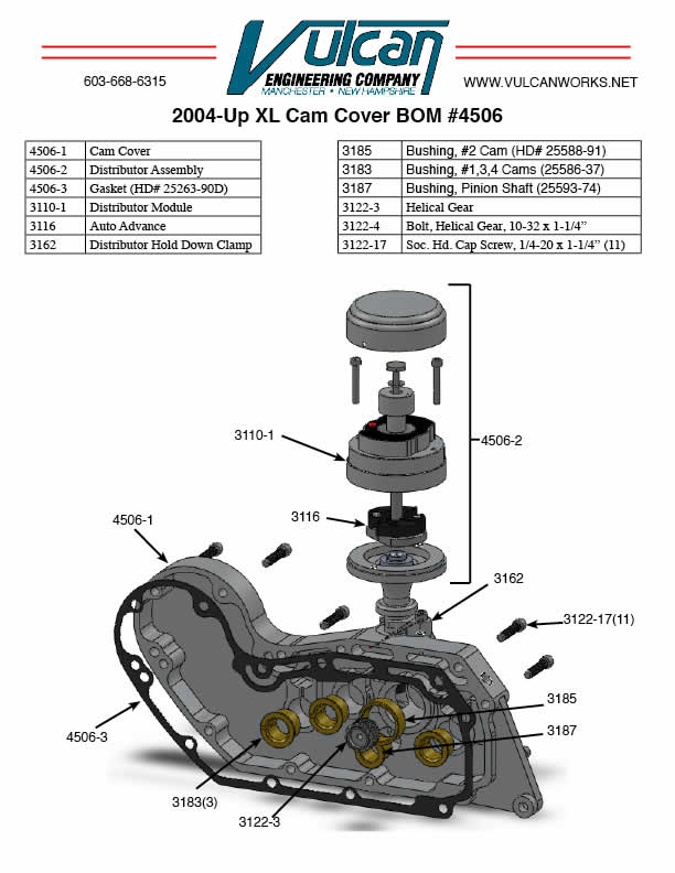 sportster cam cover with distributor ignition  finned  1991-2003